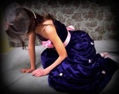 Beautiful navy blue junior bridesmaids dress. Flower girl dress for a wedding. Any size or color available.