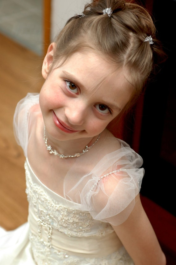 White wedding flower girl dress with tulle sleeves . Wedding gown for flower girls. Any size available.