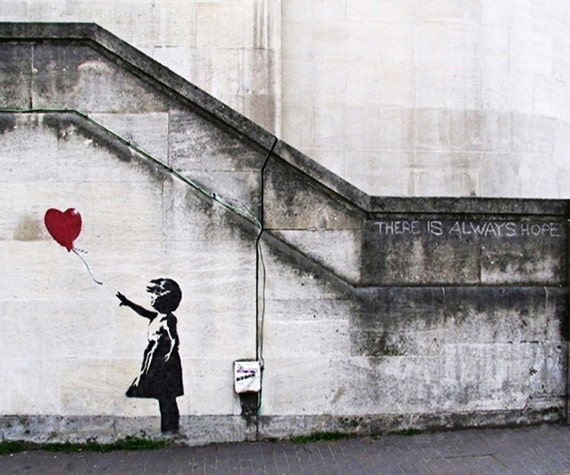 Bansky Graffiti Art - Girl with Balloon No. 3 - 16x20 Print of an Original Photograph