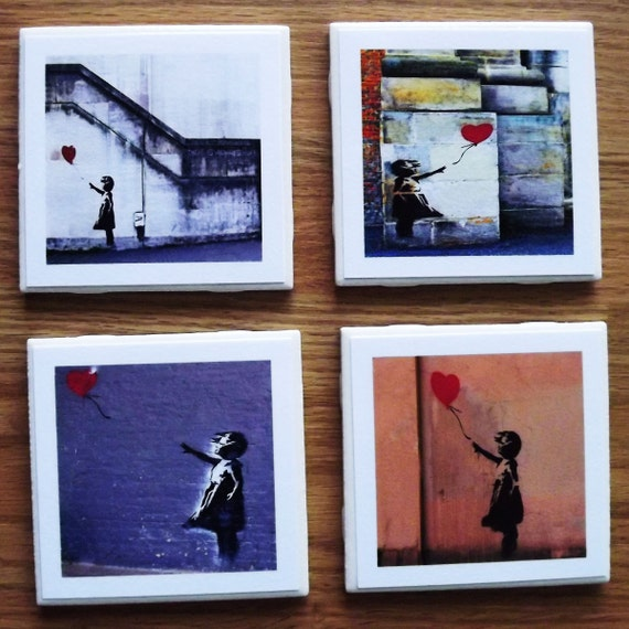 Banksy Set of 4 Ceramic Tile Coasters Balloon