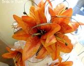 Wedding cake topper set orange tiger lily custom cake top decor