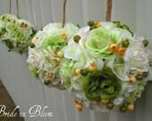 Pomander kissing balls wedding flower ball green ivory flower girl bridesmaid wedding ceremony decorations