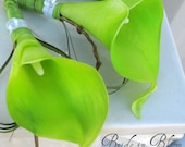 Lime green boutonniere real touch calla lily men groomsmen wedding boutonnieres