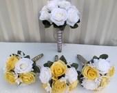 Wedding bouquet Bridal bouquets 8 piece set White yellow roses Silk bridal flowers