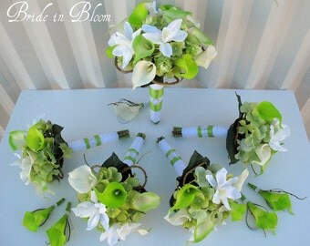 10 piece Wedding bouquet set ~ Lime green white calla lily orchid Wedding flowers