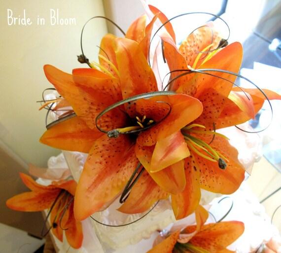 Wedding Cake Topper Orange Tiger Lily Cake Topper Custom