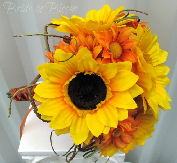 Sunflower wedding bouquet tangerine orange Silk bridal bouquet