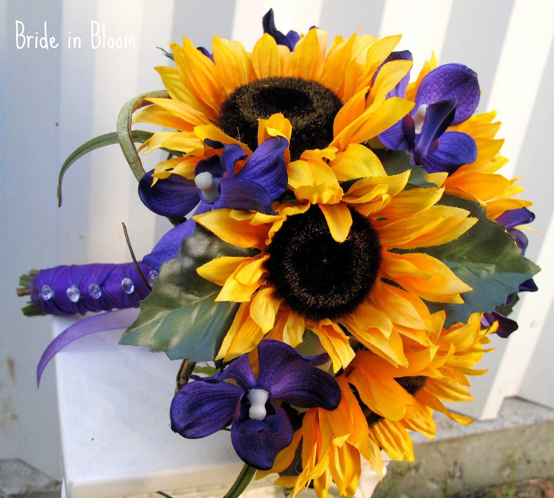 Sunflower Wedding bouquet Brides bouquet Sunflowers purple
