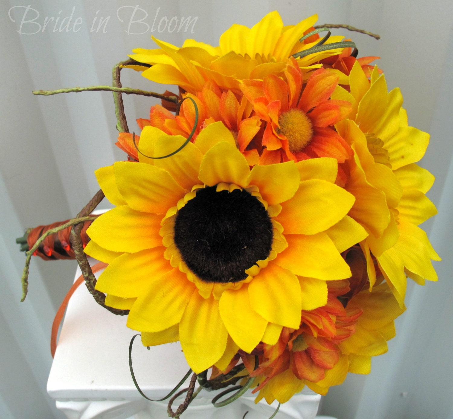 Bridesmaid Bouquets Sunflowers : Sunflower wedding bouquet tangerine orange by