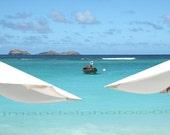 St. Barts Caribbean Beach Umbrellas / tropical photo    /Caribbean Photography