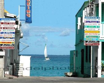 ST. Martin Street Signs & sailboat 8x10 print / Caribbean Photography / St. Martin, F.W.I./Caribbean Photo