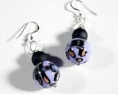Lavender and Black Swirl Acrylic Bead Earrings