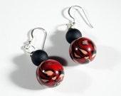 Crimson and Black Swirl Acrylic Bead Earrings