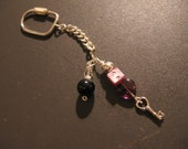 Glass Heart Cell Phone Charm Keychain 925 Silver Lavender