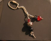 Red Glass Heart with Dice 925 Silver Keychain Charm