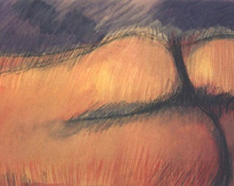original abstract oil pastel painting, Scape 3