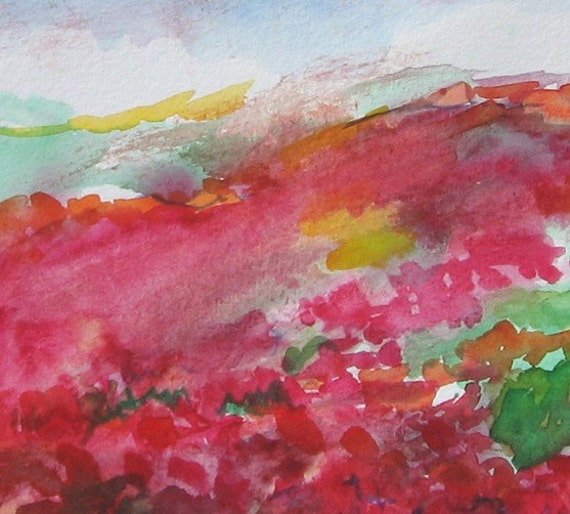 original watercolor on paper anemones landscape