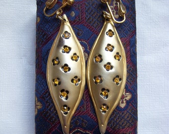 Topaz Rhinestone Drop Cheetah Print Earrings