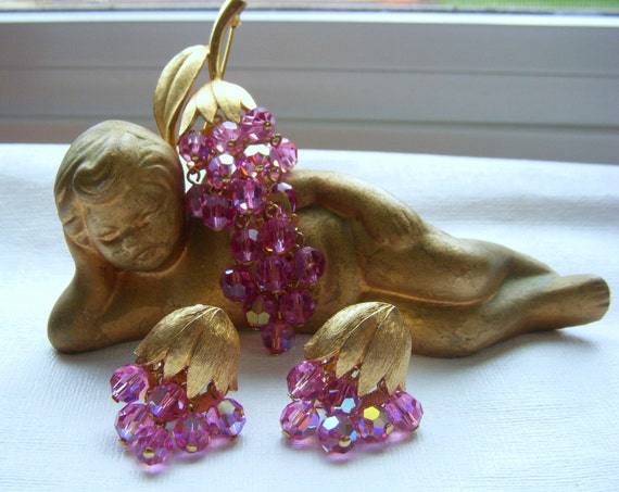 Pink Aurora Borealis Crystal Dangle Brooch & Earrings