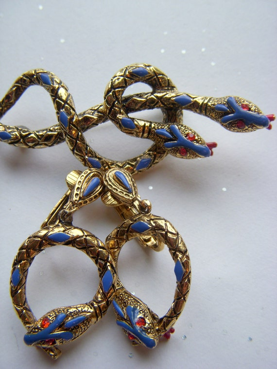 RESERVED for MIna - Signed ART Entwined Snake Brooch and Earrings - Book Piece
