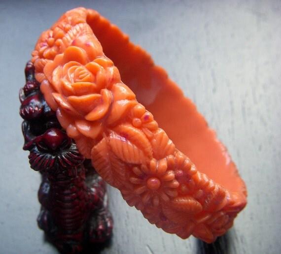Reserved  - Vintage Carved Coral Celluloid Bangle Bracelet