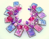 REDUCED Beautiful Butterfly Altered Art Beaded Charm Bracelet in Pink and Purple Reduced