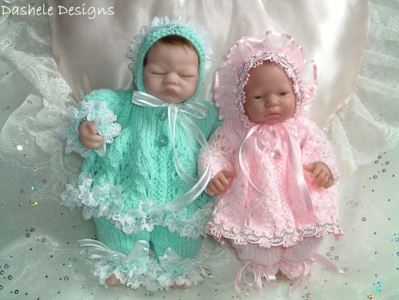 Knitting pattern for small 10 inch dolls, Emmy, Berenguers
