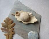 Hand sculpted acorn with a unique oak leaf bowl