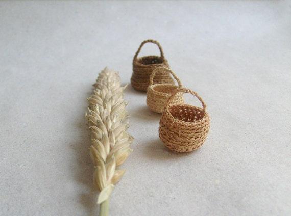 Miniature  elf's baskets ,set of three