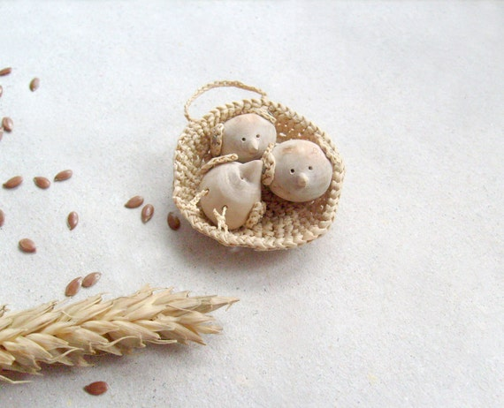 Reserved for Sarah -Miniature nest with a cute little birds, wood carving, wall art