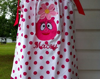 Pillowcase Dress with FOOFA on it sizes 6 month up to size 8