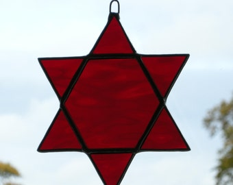Stained Glass Ornament (Star of Solomon) Rich Red