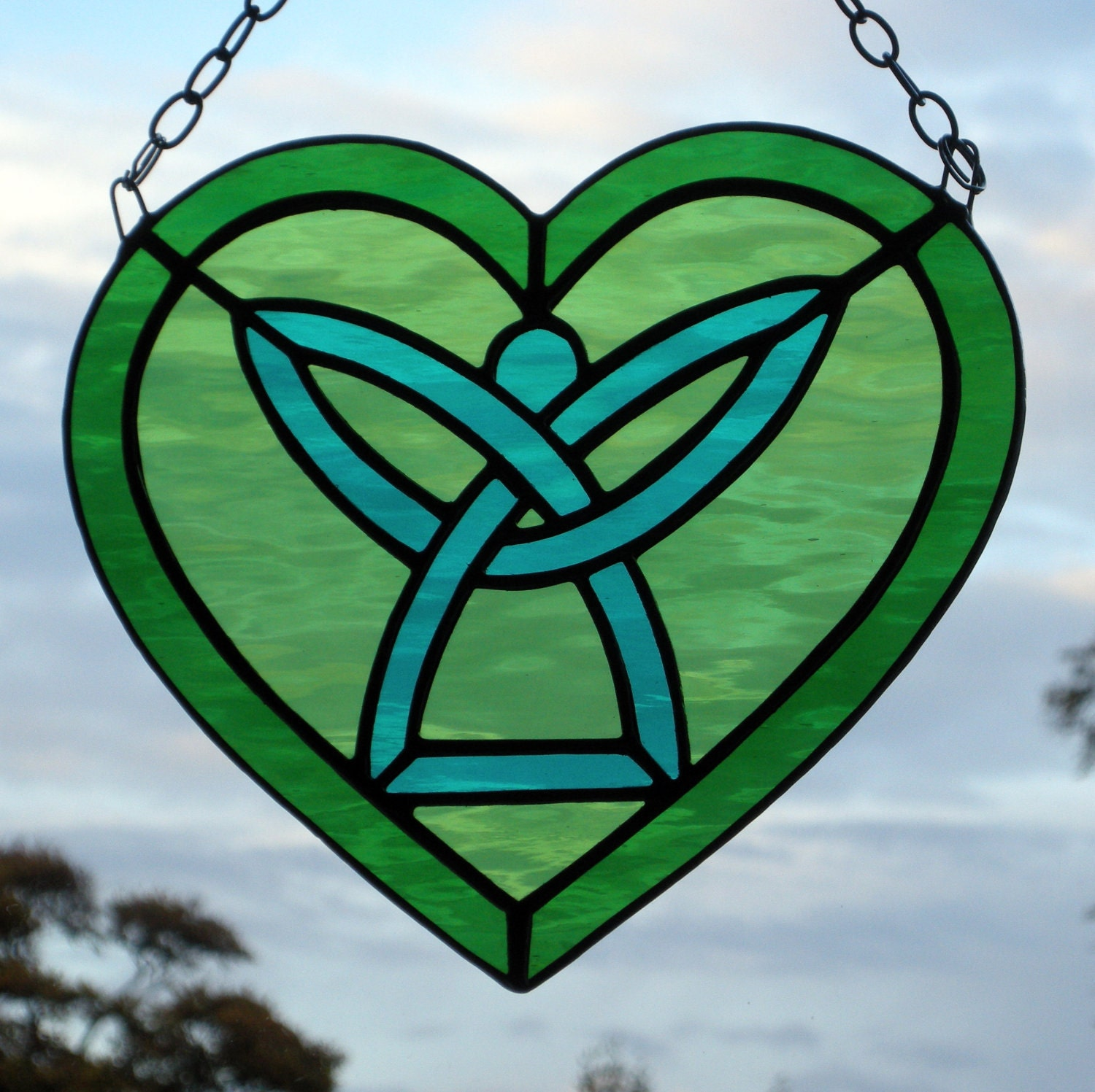 Stained Glass Celtic Angel Heart