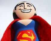 Superman Handmade Wood Figure Art Toy Collectible Superhero Cake Topper - READY TO SHIP