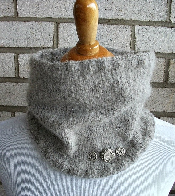 Button Me Up...Button Me Down Wool Mohair Cowl gift under 30 dollars