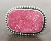 Pink Druzy Cocktail Ring, Sterling Silver, Size 6 1/2