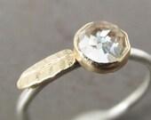 Rose Cut Gemstone Leaf Stack Ring, 14k Gold and Silver - Choose Your Gemstone