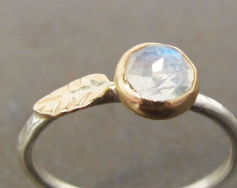 Rose Cut Moonstone Leaf Stack Ring, 14k Gold and Silver - Medium Stone Size