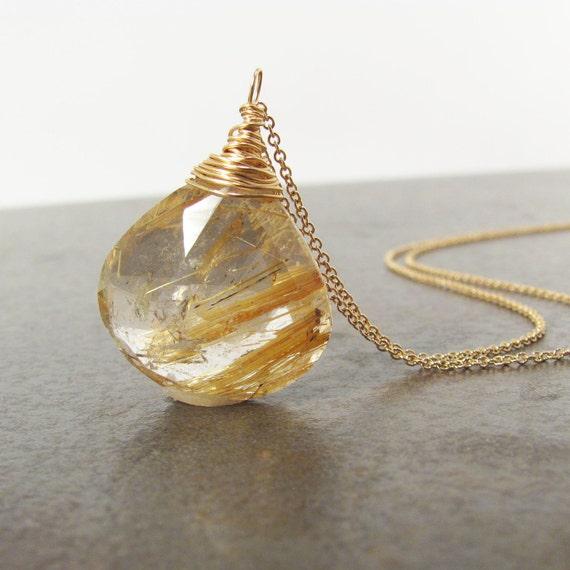 Reserved for Kate - 14k Gold Necklace - Huge Rutliated Quartz