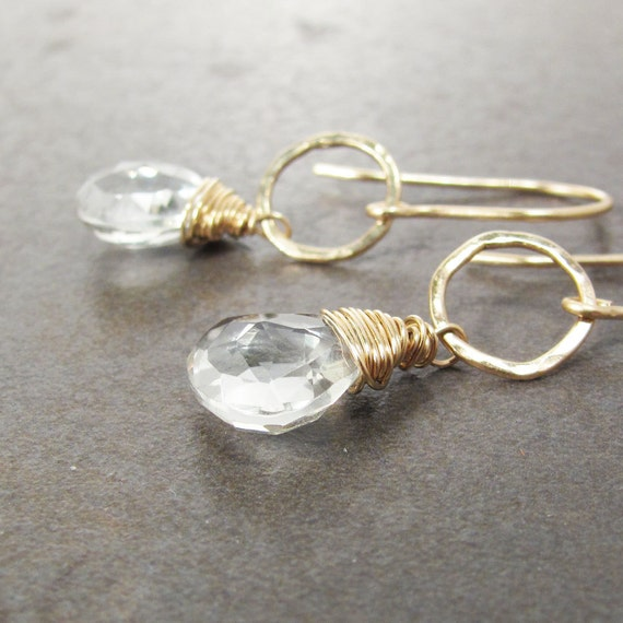 Green Amethyst and Gold Earrings, Hammered Hoops, Ready to Ship