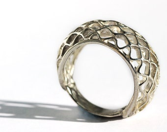Classic bee sterling silver ring, bee hive jewelry, honey ring