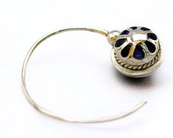Dark blue hoops earrings, semi precious lapis stone&blue enamel, fine jewelry