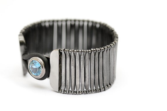 Black plated sterling silver bracelet, blue aquamarine gemstone