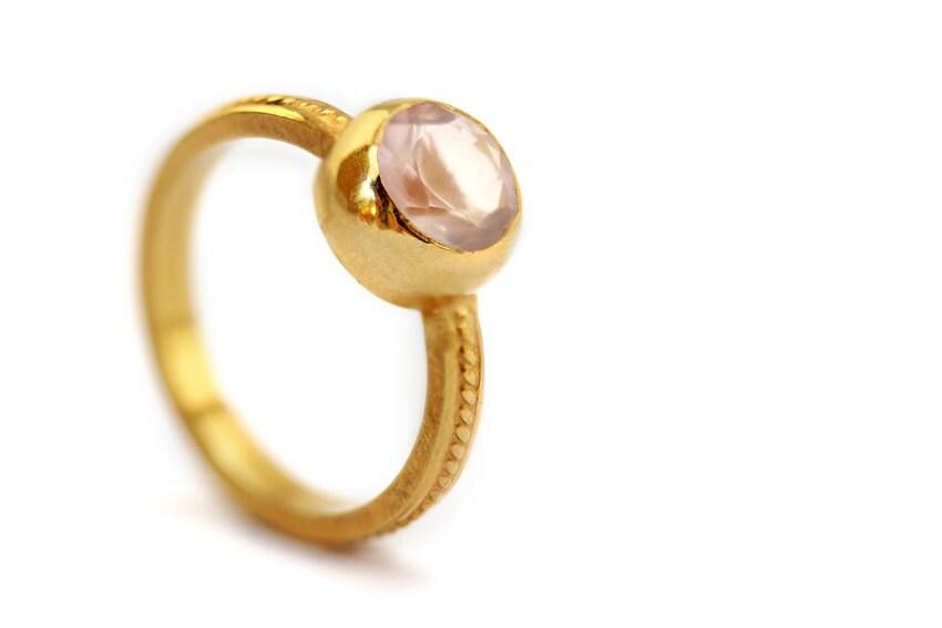 Pink Engagement Ring Rose Quartz 18K Gold Plated Silver