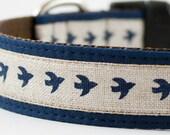 Fly Away Little Bird Dog Collar in Navy Blue