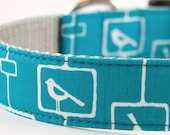 Mod Bird Blue Dog Collar