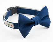 Solid Navy Blue Dog Bow Tie Collar