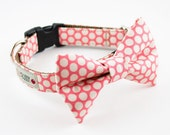 Pink Honeycomb Bow Tie Dog Collar