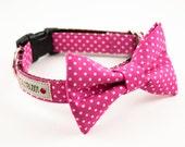 Hot Pink Polka Dot Bow Tie Collar