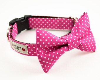 Hot Pink Polka Dot Bow Tie Collar